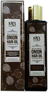 MB Herbals Red Onion Hair Oil 200ml (6.76 fl.oz) with Black Seed, Wheatgerm, Hibiscus, Curry Leaf Oils & Vitamin E | Repairs & Strengthens Damaged Hair | Promotes Hair Growth | Adds Volume to Hair