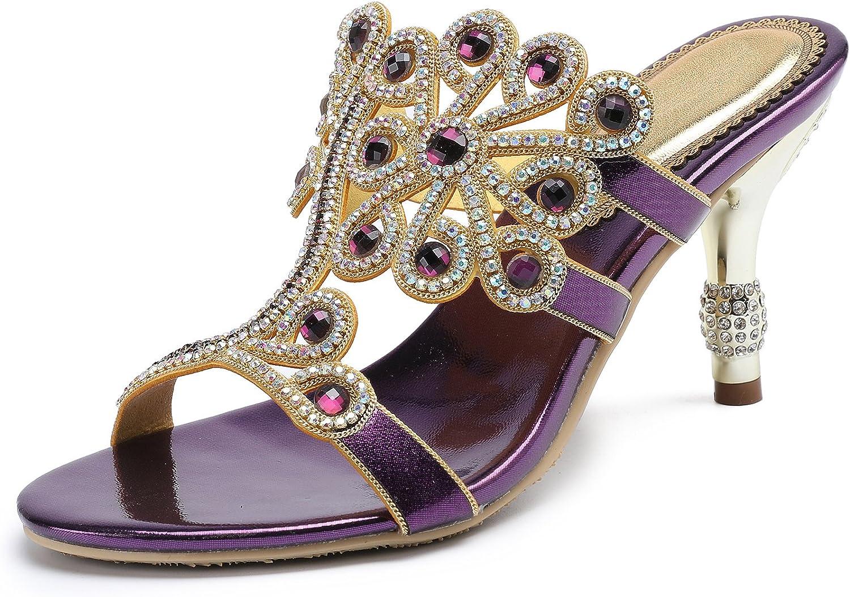 Honeystore Women's Flower Rhinestones Pumps Stiletto Heels Sandals Evening shoes