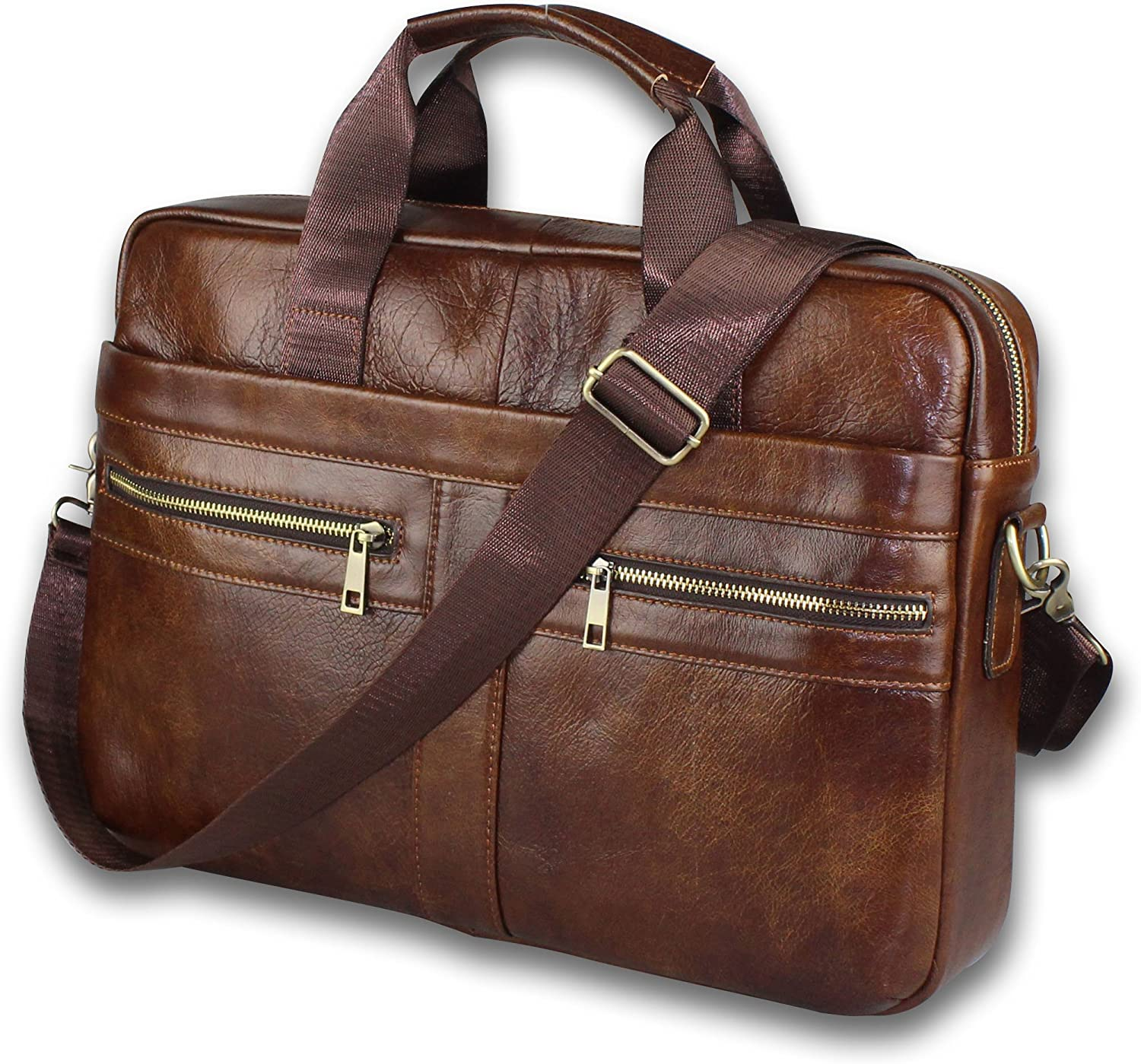 Genuine Leather Briefcase for Men with Padded Cheap mail Max 65% OFF order sales Protection 14