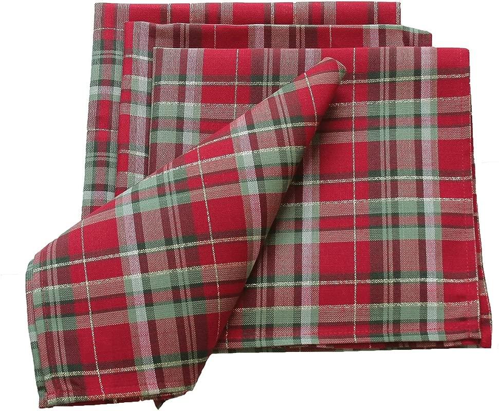 Xia Home Fashions Holiday Tartan Christmas Napkin 20 By 20 Inch Set Of 4