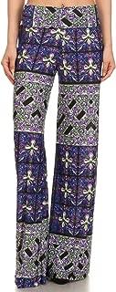 YELETE Women's Fashion Colorful Printed High Waist Fold Over Wide Leg Palazzo Pants