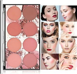 پالت مات CCbeauty 8 رنگ رژگونه ، رژگونه طبیعی صورت با ماندگاری طولانی ، پودر رژگونه براق و روشن ، پالت رژگونه کانتور و هایلایت ، براشر حرفه ای آرایش صورت