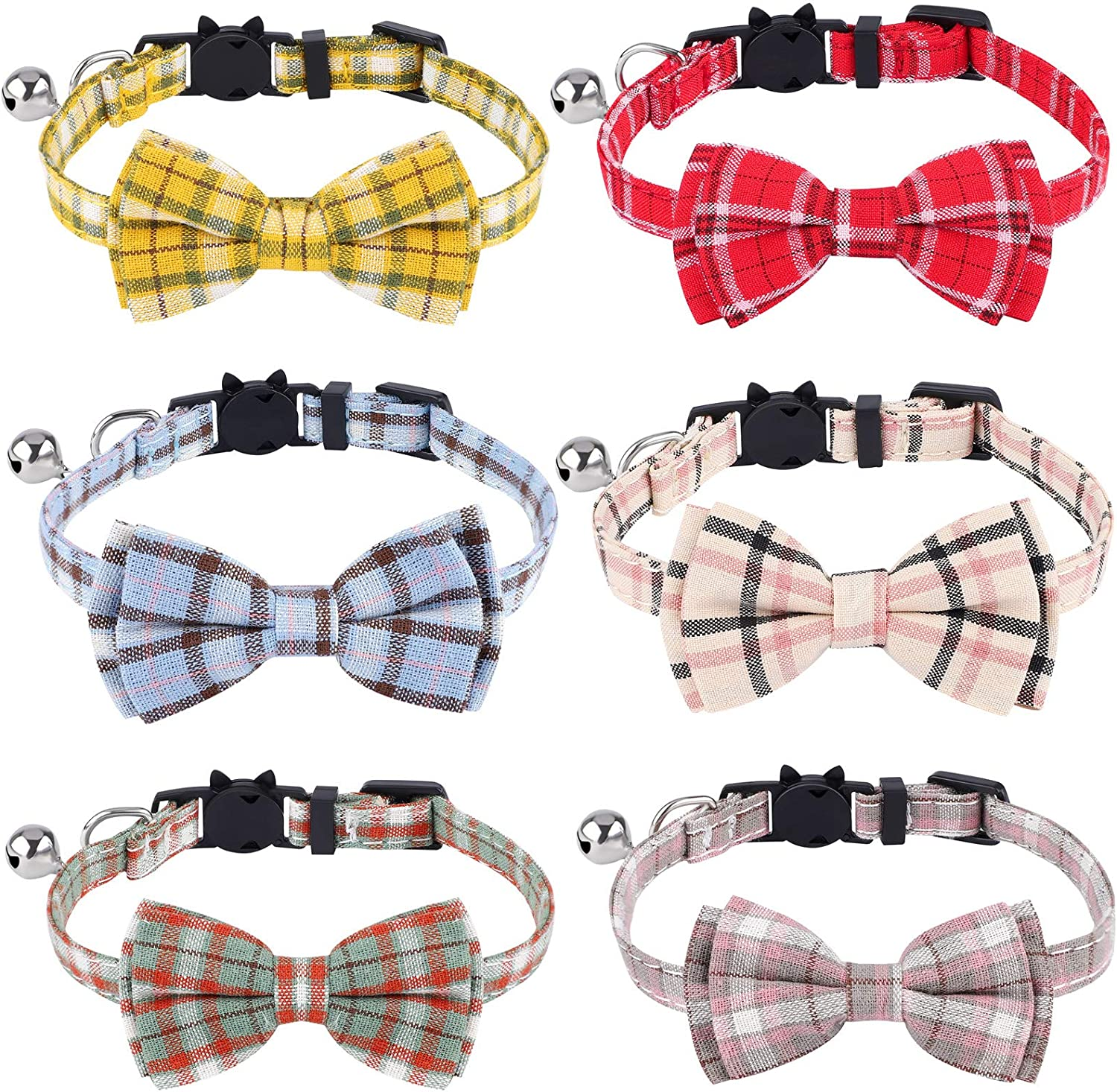Small Dog Puppy URATOT 6 Pieces Cat Collars with Bow Tie and Bell Breakaway Cat Collars Plaid Kitten Collar Safety Kitty Collars Adjustable Buckle Collars for Cat