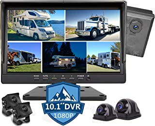 $399 » 10.1 inch 1080P Backup Camera Monitor & Built-in 128GB DVR Video Sound Recorder for RV Truck Trailer Rear Side Front Rever...