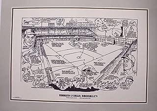 Brooklyn Dodgers Ebbets Field 16x20 Poster Cartoon Lithograph JACKIE ROBINSON