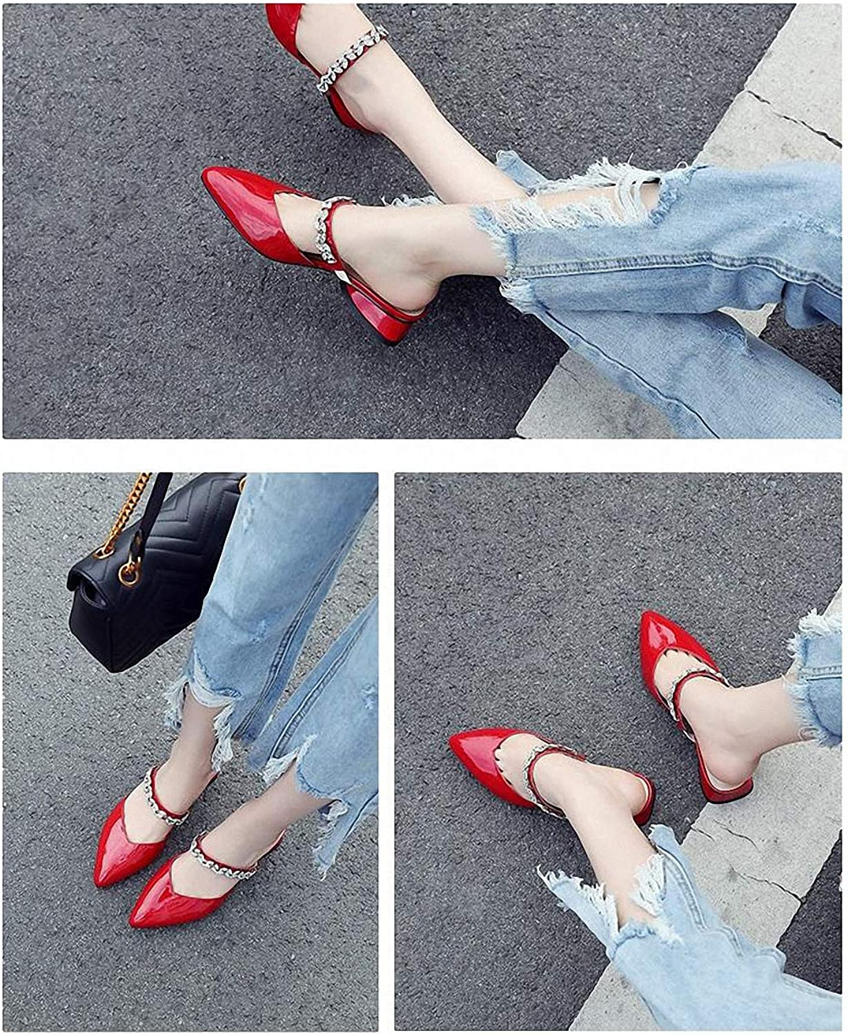 Womens Low-Heeled Sandal shoes Baotou Half Slippers Female Summer Thick with Leather Pointed Rhinestones Wearing Sandals
