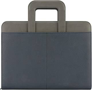 """NuVision Binder Zip Briefcase Padfolio, Elegant Navy Blue & Grey Stylish Zippered PU Leather Portfolio with Handle, Pockets & Refillable 8 ½ x 11"""" Notepad-3 Ring Binder, can Hold Mini Pad!"""