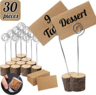Habbi 30pcs Wood Place Card Holders, Rustic Table Numbers Holder, Table Name Card Holder with Kraft Place Cards Bulk for Wedding or Home Party Table Number Sign