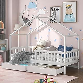 ModernLuxe Lit pour enfant 90 x 200 cm, lit en bois pour enfants, avec tableau, sommier à lattes, protection anti-chute, e...