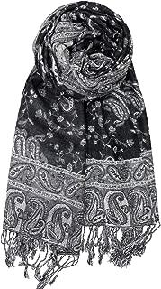Soft Silky Reversible Paisley Pashmina Shawl Wrap Scarf w/Fringes