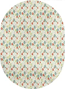 Floral Oval Area Rug Carpet,Retro Style Lively Garden Pattern Colorful Ornate Flowers Foliage Petals Botanical Area Rugs Carpets,3'x 5'Oval,for Children Bedroom Home Decor Nursery Rug
