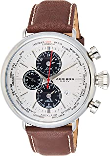 Akribos XXIV Men's Multifunction SubDial Alarm Watch - Stainless Steel GMT Bezel - Leather over Nubuck with Cream Contrast Stiching Strap