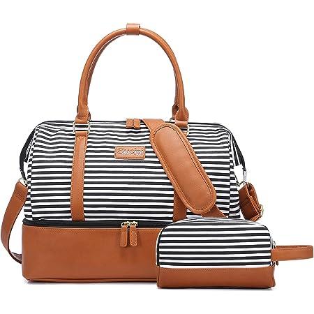 Sucipi Reisetasche Damen, Weekender Canvas PU-Leder Handgepäck Kliniktasche (L 42 x 29 x 22 cm) mit Schuhfach mit Kulturtasche