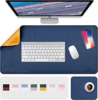 "Desk Pad, Desk Mat, Mouse Mat, XL Desk Pads Dual-Sided Blue/Yellow, 31.5"" x 15.7"" + 8""x11"" PU Leather Mouse Pad2 Pack Wat..."