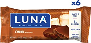 LUNA BAR - Gluten Free Snack Bars - S'mores Flavor - (1.69 Ounce Snack Bar, 6 Count)