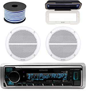 Kenwood Marine Bluetooth Radio In-Dash Boat Audio Receiver Bundle with Pair of Enrock 6.5