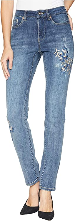 Five-Pocket Boyfriend Jeans with Embroidery Detail in Vintage Blue