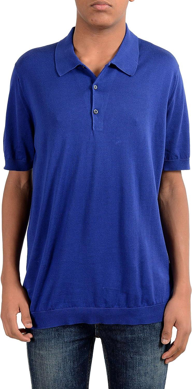 Prada Men's Dark Blue Knitted Polo 54 Bargain Shirt Award-winning store US IT XL