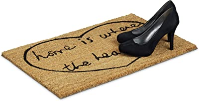 Relaxdays Coconut Fibre Home is Where The Heart is Coir Doormat 40 x 60 cm with Anti-Slip PVC Rubber Underside Welcome Mat, Brown