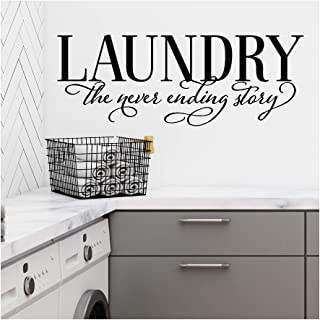 Laundry The Never Ending Story Vinyl Lettering Wall Decal Sticker (Black, 16.5