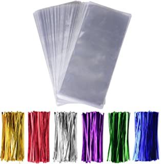 """Sannigora 200 Pack 5"""" x 11"""" Clear Cello Treat Bags 1.4mil OPP Plastic Bags with 6 Mix Colors Twist Ties Good for Wedding Cookie Gift Candy Bakery Supply Valentine Chocolates (5'' x 11'')"""