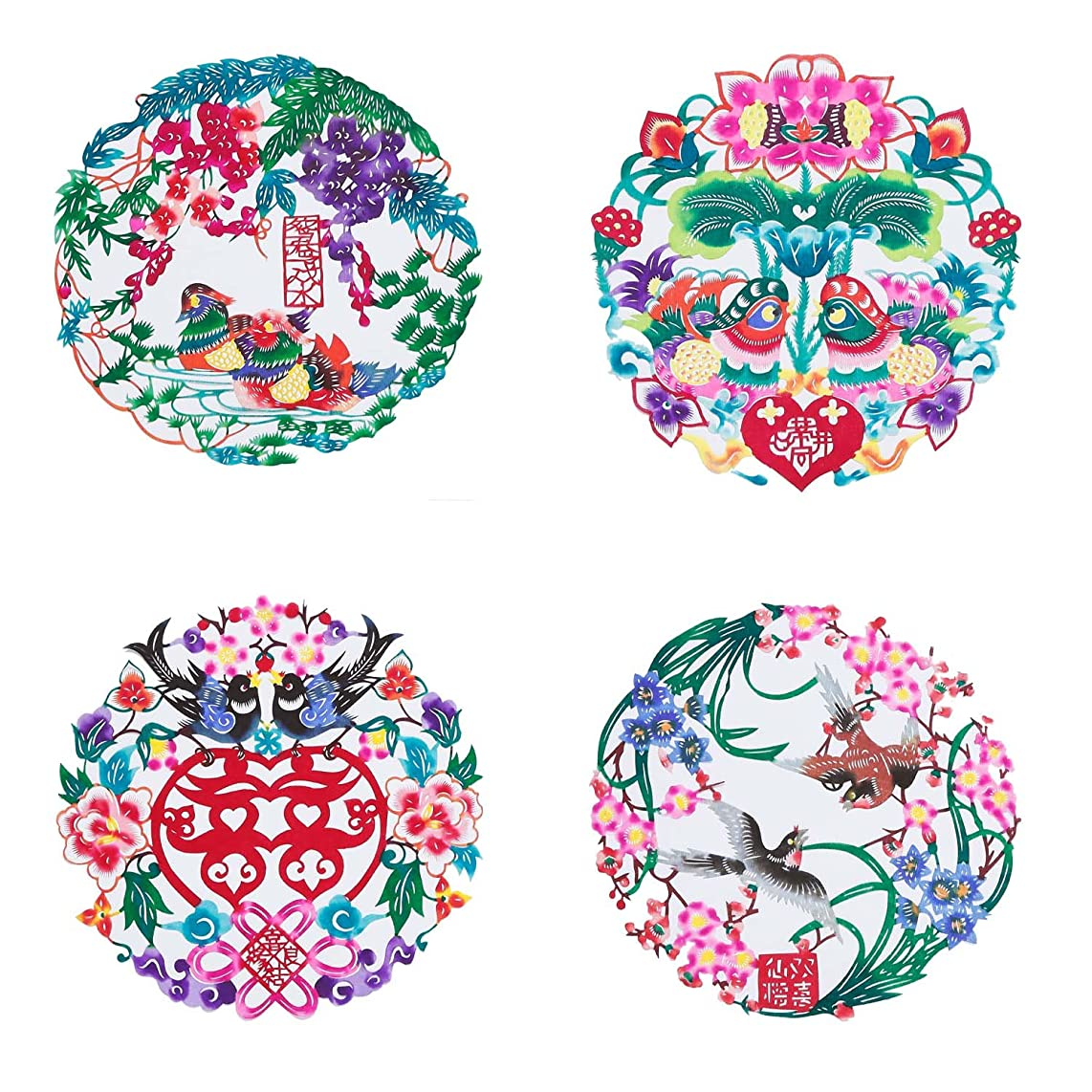 Shayier China Intangible Cultural Heritage - Chinese Color Handmade Paper-cut (Flower & Bird_Love)