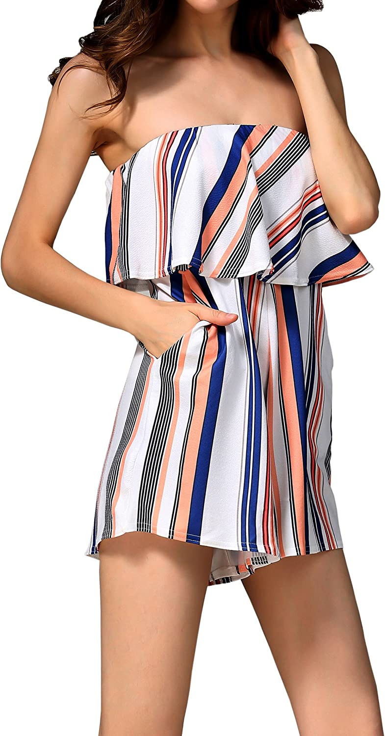 Hiblueco Women's Off Shoulder Rompers Sleeveless Short Jumpsuits with Pockets