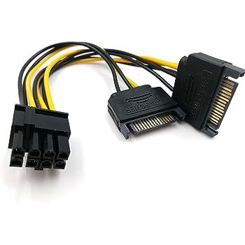 JBingGG 15ピンSATAオス-デュアル8ピン(6 + 2ピン)PCI-Expressメスビデオカード電源アダプターケーブル15cm