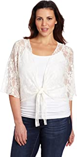 Women's Plus-Size 3/4 Sleeve Lace Tiefront Shrug Sweater