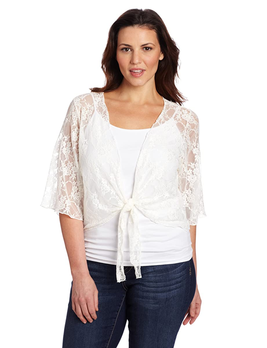 Star Vixen Women's Plus-Size 3/4 Sleeve Lace Tiefront Shrug Sweater