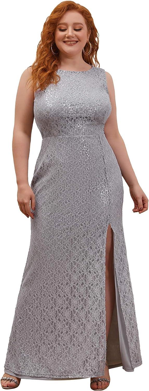 Ever-Pretty Women Plus Size Lace Side Split Bodycon Wedding Guest Dress with Shawl 0281-PZ