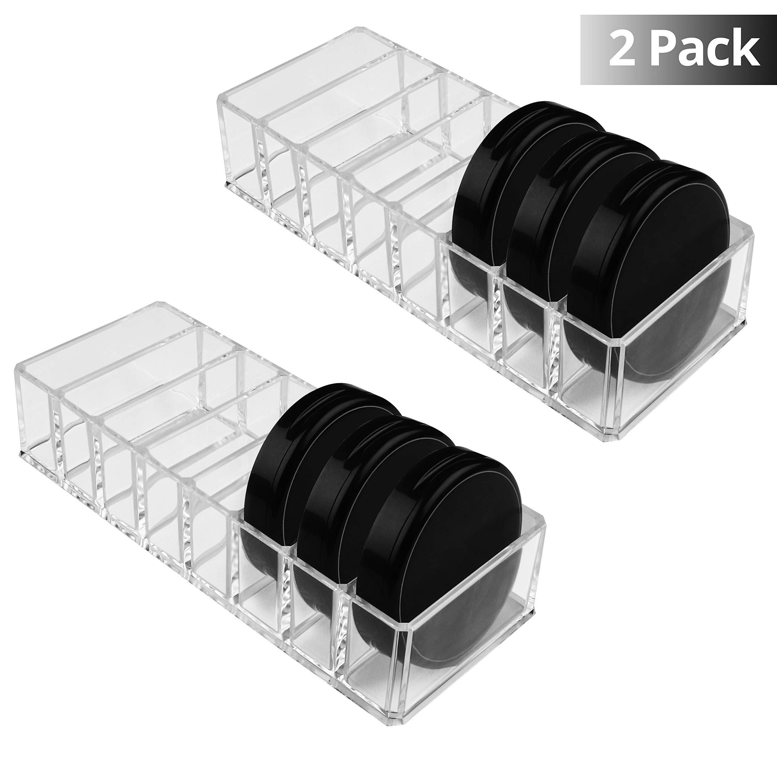 Organizador Cosméticos Acrílico Transparente - Pack de 2 Maquillaje Organizador (21,5 x 8,3cm) y 8 Sección Cada (7,5 x 2,5 cm) para Sombra de Ojos, Compactos, Colorete, Bronceador - Habitación, Salón: Amazon.es: Hogar