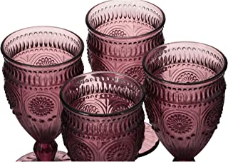 The Pioneer Woman Adeline Embossed 12-Ounce Footed Glass Goblets, Set of 4 (Plum)