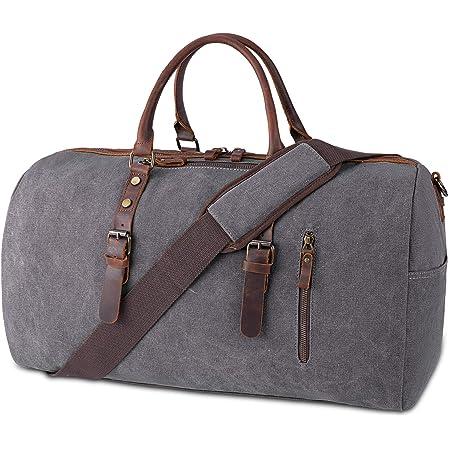 NUBILY Reisetasche Herren Canvas Leder Weekender Herren Groß Unisex Vintage Sporttasche Duffle Bag Handgepäck für Frauen & Männer Grau