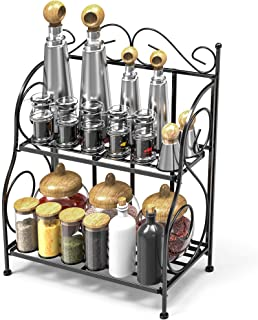 Spice Rack, iSPECLE 2-Tier Foldable Shelf Rack Kitchen Bathroom Countertop, 2-Tier Standing Storage Organizer Spice Jars Bottle Shelf Holder Rack -Black