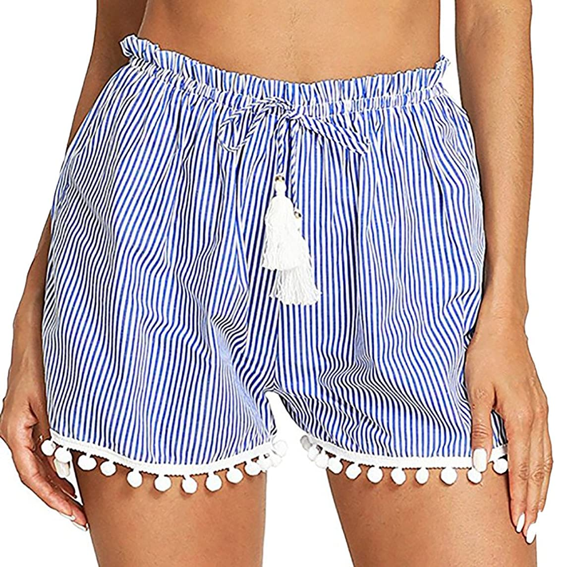 Women Striped Stretch Waist Pants Tassel Tie Hem Shorts Comfortable Pajamas Yoga Sports Running Trouser Beach Bottoms