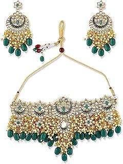 Zaveri Pearls Green Meenakari Bridal Choker Necklace Earring & Maangtikka Set For Women-ZPFK10497