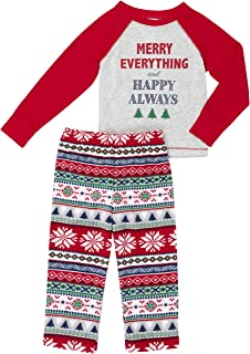 Merry Everything and Happy Always 2 Piece Toddler Boys and Girls Pajama Set
