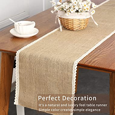 Winotic Burlap Table Runners 12 x 72 Inches with Lace Hem, Farmhouse Rustic Jute Linen Table Runner for Wedding Party Decorat