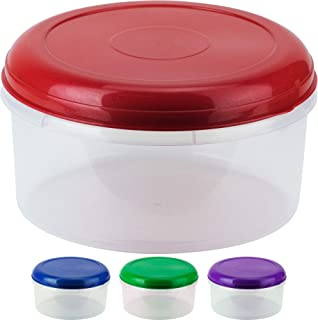 DecorRack Food Storage Container, 5 Quarts, BPA Free- Plastic, Food Grade Safe, Heavy Duty Dry Storage Containers, Round L...