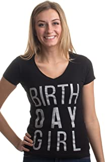 Birthday Girl   Black or Pink Cute Sexy B-Day Bar Crawl Party V-Neck T-Shirt