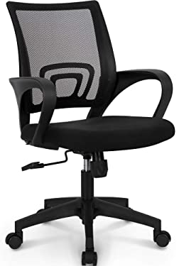 NEO CHAIR Office Chair Computer Desk Chair Gaming - Ergonomic Mid Back Cushion Lumbar Support with Wheels Comfortable Blue Mesh Racing Seat Adjustable Swivel Rolling Home Executive, Black