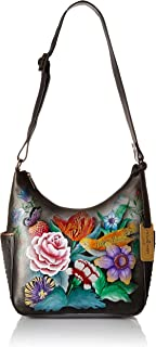 Women's Genuine Leather Shoulder Bag | Hand Painted Original Artwork | Classic Hobo With Studded Side Pockets