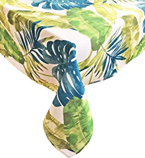 Andros Tropical Leaves Summer and Spring Indoor/Outdoor Soil Resistant and Water Repellent Fabric Tablecloth - Patio, Picn...