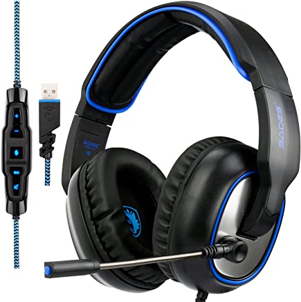 SADES R7 Gaming Headset, USB Headset Cuffie da gioco stereo per auricolari Over-Ear Supporta il suono surround virtuale a 7.1 canali con microfono retrattile EQ Bass Boost Button per PC e Mac (nero) - Trova i prezzi più bassi