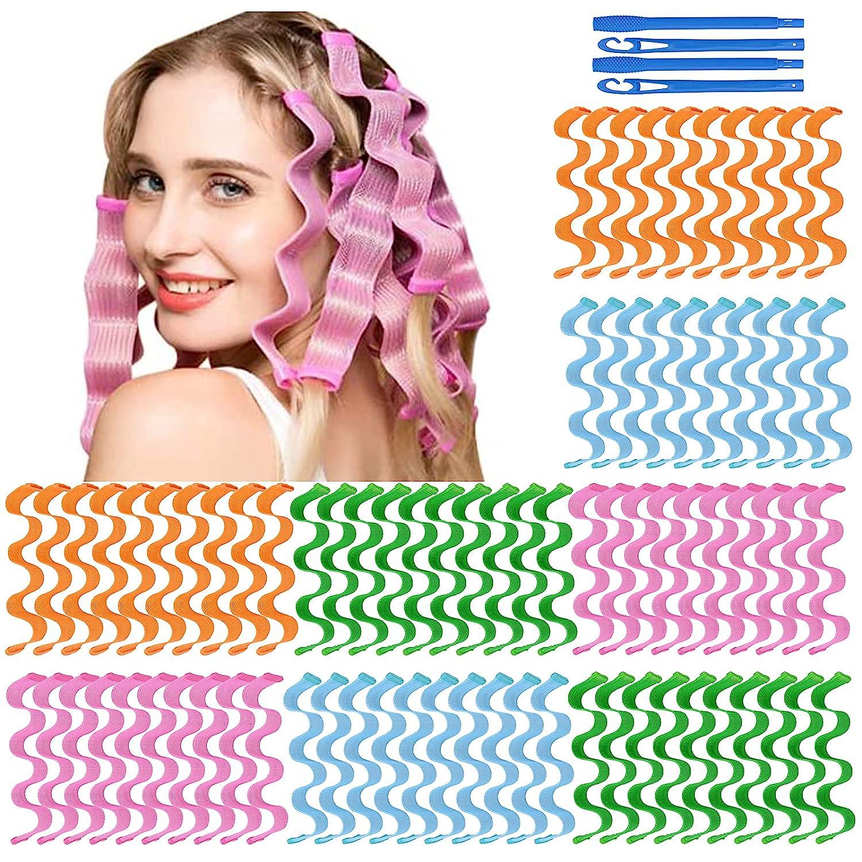 64Pcs Hair Curlers Spiral Hair Roller Curls No Heat Curlers Wave Formers Wave Heatless Hair Curlers Spiral Hair Curls Styling Kit Curly Wavy Magic Hair Curler Hair Curlers with Styling Hooks (30cm) : Beauty