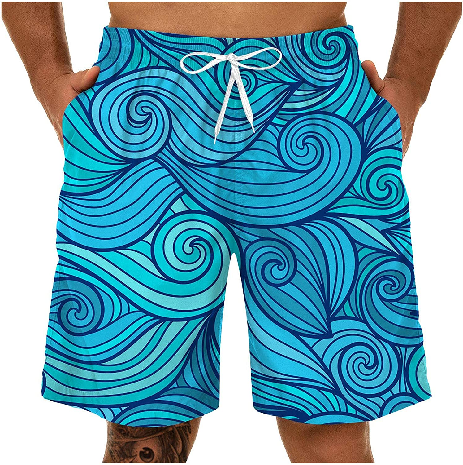Baralonly Cash special price Swim Trunks for Men Max 89% OFF Beachwear Comfy Printed Wo Summer