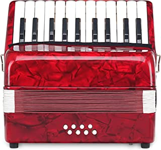 Classic Cantabile Secondo Junior 8 Bass Accordion 22 Treble Keys Eight Bass Keys with Strap and Gig Bag Red
