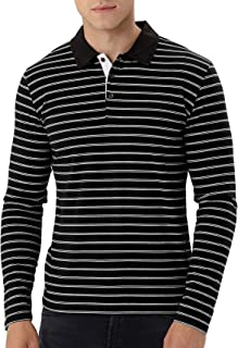 MLANM Men's Long Sleeve Stripe Polo Shirts Casual Slim Fit Basic Designed Cotton Shirts