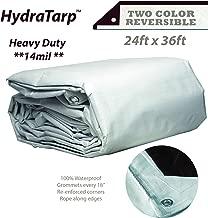 HydraTarp 24ft X 36ft Heavy Duty Waterproof Tarp - 14mil Thick - White/Brown Reversible Tarp
